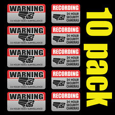 10 Pack VIDEO SURVEILLANCE Security Burglar Alarm Decal Warning Vinyl Stickers