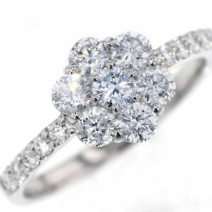 New Pt950 Natural Blue Diamond Ring 0.122ct FB SI1 D0.85ct Flower SELBY_JAPAN