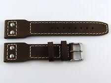 Bracelet Pilote Flieger cuir brun 22mm Typical flieger pilot strap Riveted brown