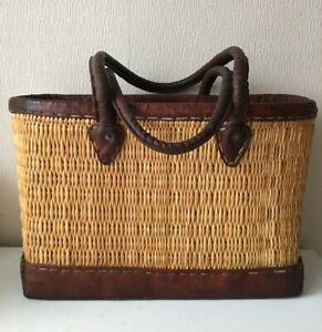 Large handmade wicker leather picnic summer tote bag beach holdall weaved straw