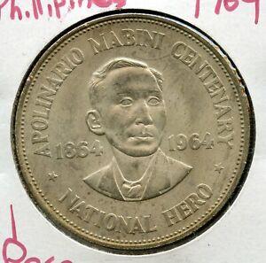 1964 Philippines 1 Peso Silver Coin Apolinario Mabini Centenary - JK330