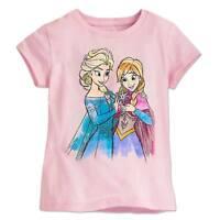 Disney Store Princess Frozen Elsa & Anna Girls Pink T Shirt Size Large 10/12 NEW