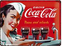 * Schild Coca-Cola Reklame Werbeschild Retro Nostalgie Poster Deko Bar *285