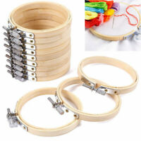 10X DIY Embroidery Circle Bamboo Hoops Cross Hoop Ring Support Aid Hand Craft A+