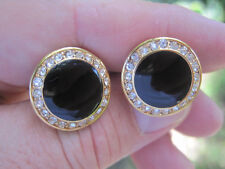 New Round Onyx and Rhinestone Cufflinks with Lots of Bling!
