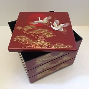 """Japanese Stack Bento Box Lunch Container 3 Tiers 7.5"""" Red Lacquered Cranes Pine"""