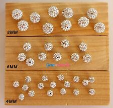 6MM Shamballa Rhinestone Crystal Pave Beads Disco Loose Bracelet Spacer 10 PCS