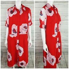 eShakti Red Floral Full Button Front Collared Shirt Dress Women's Sz. XL-16