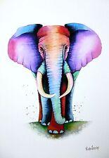 *ELEPHANT* GICLEE A4 Fine Art Signed Print by Maria Moss
