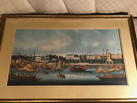 "Large Vintage ""Harbor And River Scene"" Print - Matted And Framed"