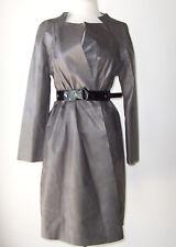 MARNI Grey Tissue Leather Belted Wrap Coat 38 4