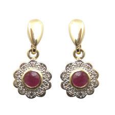 Ruby & Diamond 9ct Gold Dropper Cluster Earrings Ruby Wedding Anniversary