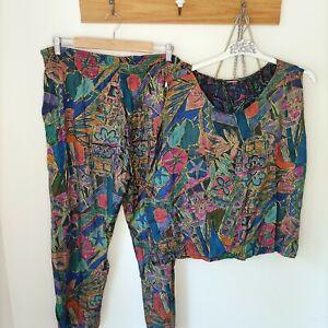 Vintage co-ord tropical rayon 80s 90s Top harem pants set XXL 36W 18 AU retro