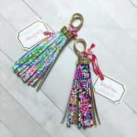 """Tassel Keychain Fob Lilly Pulitzer 5.25"""" Leather Colorful Pink Gold Summer"""