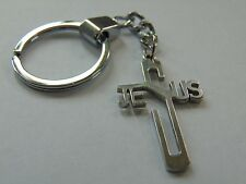 Crucifix Shaped Key Ring-Letters Spelling Jesus
