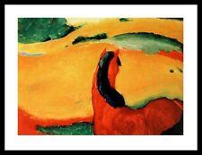 Franz Marc Pferd in Landschaft Poster Kunstdruck mit Alu Rahmen in 60x80cm