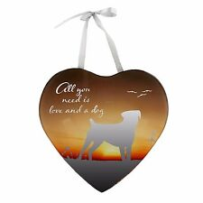 Reflections Mirror Hanging Heart Plaque Gift Love and a Dog 61426