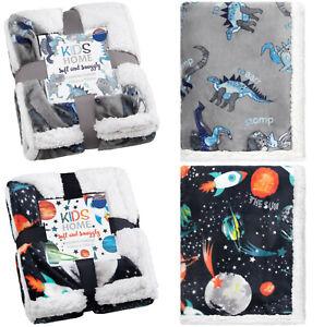 New Dinosaur & Space Design Gorgeous Soft Sherpa Throw Kids Blanket 100 x 150cm