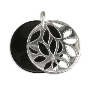 Silver / CZ  Black Disc Pendant on Chain