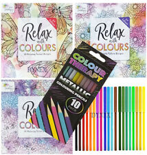 3 x Adult Colour Therapy Colouring Books + 18 FELT TIPS + 10 COLOURING Pencils
