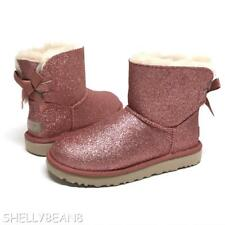 UGG Mini BAILEY BOW SPARKLE Boots PINK Booties SHEARLING Fur LINED 5 NEW NIB