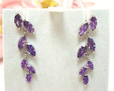 """Silver Dangle Earrings 3"""" Vintage Fine Jewelry Amethyst Sterling"""