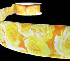 "5 Yds Yellow Rose Roses Flower Garden Orange Wired Ribbon 1 1/2""W"