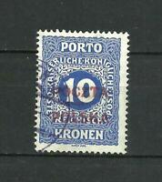 Poland 1919 Cracow Issue Used 10 kronen , RED Ovpt