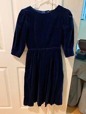 Vintage Lanz Petite Blue Velvet Dress  Modest Mid Sleeve Size 4 1980's Made USA