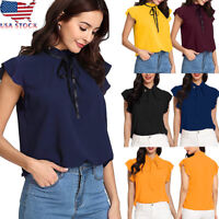Fashion Women's Casual Cap Sleeve Bow Tie T-Shirt Solid Chiffon Blouse Tops US