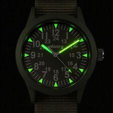 INFANTRY Mens Quartz Wrist Watch Luminous Dial Sport Military Army Green Fabric