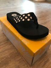 Yellow Box Zadie Black Polka Dot Flip Flop NIB Choose Size