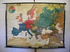 Schulwandkarte Die Völker Europas 206x151 ~1925 vintage ethnic group nation map
