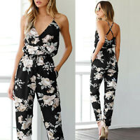 New Women Summer Beach Jumpsuit Sleeveless V-Neck Floral Playsuit Party Trousers