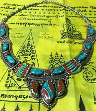 TALISMAN PENDANT Old Tibetan Buddhism silver inlay Red necklace THAI AMUKET LOVE