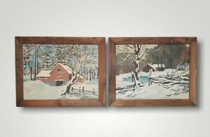 Vintage '72 Set of 2 Paint by Number Farm House Barn Winter Snow Signed Framed