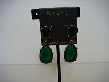 Kenneth Jay Lane Jolie Drop Earrings Emerald Green Crystal Gold  Tone Metal New