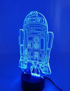 Engraved Acrylic 3D Star Wars R2-D2 Multicolor Novelty Lamp Light Home Decor EUC