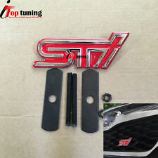 1PCS Red STI Car Front Grill Grilles Emblem Badge For Brz XV Impreza Forester