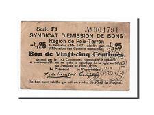 [#162322] France, Poix-Terron, 25 Centimes, 1917, TTB, Pirot:08-144