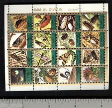 Insects miniature sheet of 16 stamps CTO caterpillars dragonfly ladybug firefly