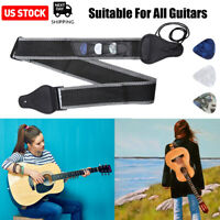 Guitar Strap Nylon Pick Holder with 3 Guitar Picks for Electric Acoustic Guitar