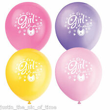 "Baby Shower GIRLS Pink Party Clothesline Range 12"" Latex Balloons x8"