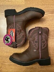 NEW! WOMENS JUSTIN GYPSY BROWN LEATHER COWGIRL WESTERN BOOTS PINK WINGS SZ 7 B