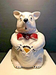 VINTAGE McCOY BEAR COOKIE JAR (WHITE BEAR WITH BOW TIE)