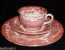 Royal Worcester PALISSY Avon Scenes ROT ~ Teegedeck 3tlg. Teetasse Untere Teller