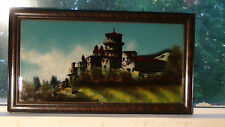 """ANTIQUE GERMANY RARE REVERSE PAINTING """"HEILDERBERG CASTLE""""WITH MOP INLAY,FRAMED"""