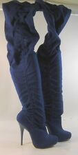 "new ladies Blue 5""High Heel Round Toe Sexy Over  Knee Boot Size 5.5"