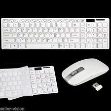 Slim White Wireless Keyboard & Cordless Optical Mouse Set PC Laptop Windows 7