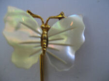 "SALE!!! 2 FOR $6 VINTAGE ""BUTTERFLY STICK PIN""  MOTHER OF PEARL 2 1/2"" X  3/4"""